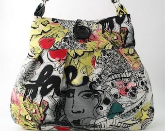 art tote bag, crossbody messenger bag, shoulder bag, cross shoulder bag, diaper bag , womens handbag, black purse,  fabric bag, graffiti