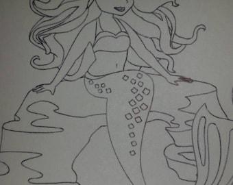 Set of 12 Mermaid coloring cards