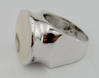 Hadar Jewelry  Israel Art 925 Sterling Silver Yellow Gold 9k Ring size 8, Handmade, Gift, Birthday  (h 109g)