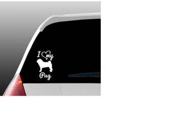 I Love My Pug/Pugs Car Window Decal