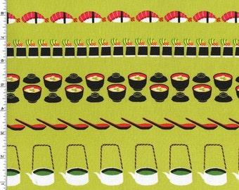 Bento Box - Conveyer Sushi Fabric - Wasabi - Sold by the 1/2 Yard
