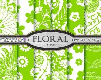 Apple Green Floral Digital Paper Pack: Bright Green Flower Pattern, Light Green Flower Backgrounds, Printable Green Floral Instant Download