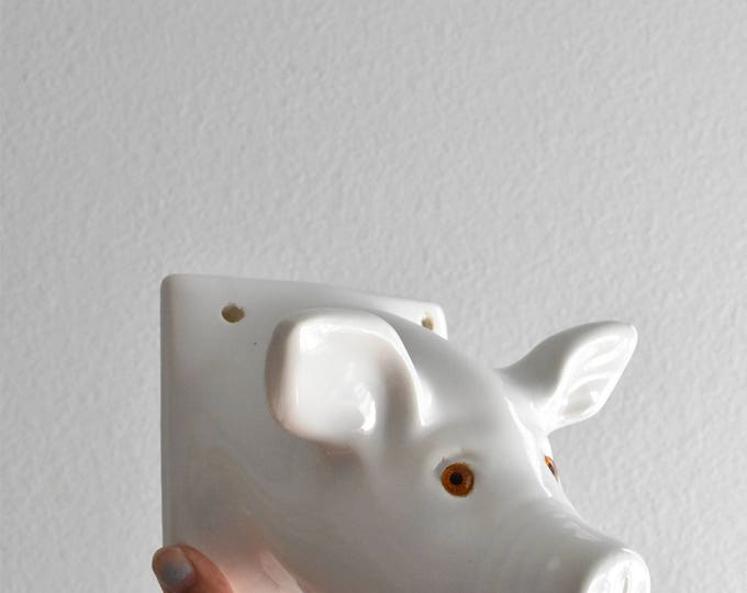 large white ceramic pig head wall mount / pig figurine / baby nursery decor