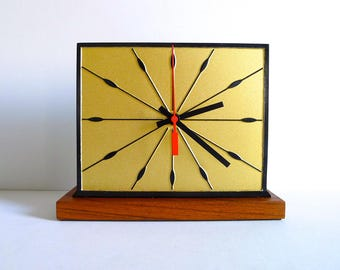 Mid Century Inspired Black and Gold Desk Mod Mantle Clock