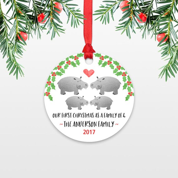 Family Christmas Ornaments New Parents Gift Our First Christmas Ornament Family of 4 Four Hippo New Baby Personalized Christmas Ornament