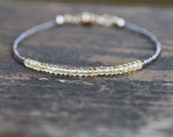 Natural Citrine and Smokey Quartz Bracelet 14K Gold Filled , June November Birthstones ,  11th 13th 70th Anniversary Gems