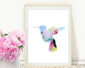 Bird Print, Watercolor Bird, Hummingbird Art, Hummingbird Printable, Printable Art, Home Decor, Wall Decor, Digital Download