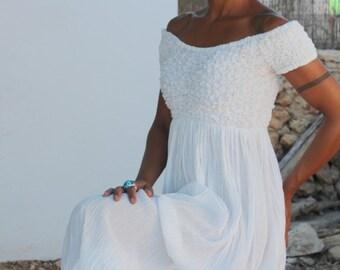 White long Ibiza cotton dress
