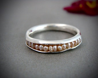 blush pearl stack ring .. sterling silver