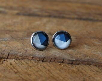 Petites merveilles geo bleu // earrings // fait au quebec   (BO-1366)