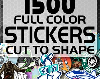 1500 Custom Vinyl Stickers - Promotional Stickers - Choose your shape - Laminated Stickers - Not Paper Stickers
