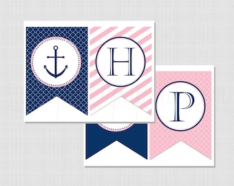 Preppy Nautical Collection: Pink and Navy Printable Birthday Banner (Color Choices)