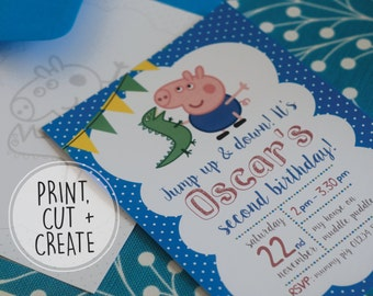 PRINTABLE Personalised Peppa Pig George Pig Birthday Party Invitation Stationary