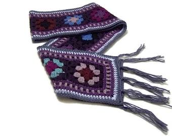 Handmade Granny Square Scarf - Crochet - Boho - Fringe - Wool