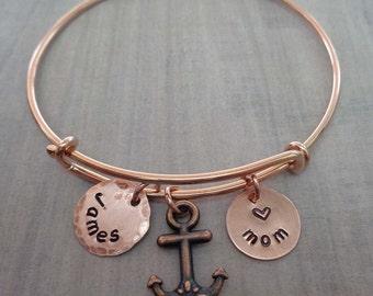 Rose Gold Bangle Bracelet - Personalized Mom Nana Mommy Grandma Bracelet - Mom Anchor Names Initials - Rose Gold Mom Nana Bangle -B-21