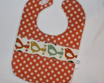 Lovely Birdies and Dots Chenille Bib - SALE