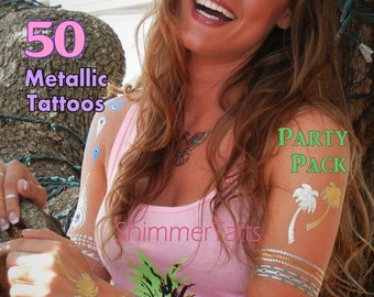 50 Metallic Tattoos Grab Bag Party Pack Mix of 50 Metallic Tattoos, 50 Metallic Tattoos Grab Bag