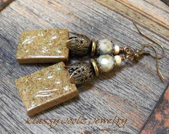 Ceramic Porclain Organic EarringsArtisan Earrings-Artisan Ceramic-Vintaj Brass Earrings-Boho Earrings-SRAJD-Czech Glass Beads
