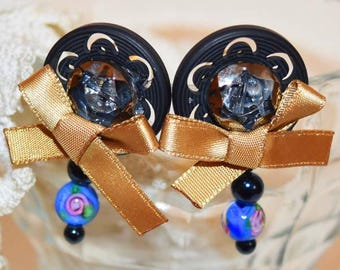 Black Bijou ribbons Ear piercing/black bijou ribbon Earrings