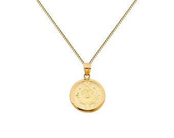10k gold aztec mayan sun calendar pendant necklace yellow 14k yellow gold aztec calendar pendant chain necklace aloadofball Image collections