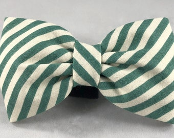 Dog Flower, Dog Bow Tie, Cat Flower, Cat Bow Tie - Green and White Stripe