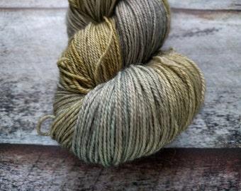 Moss KR Sock hand dyed sock yarn, Blue Faced Leicester/nylon, 407 yards