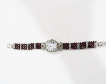 Gemtime Garnet bead watch with marcasites