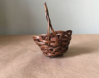 Miniature Brown Basket with Handle