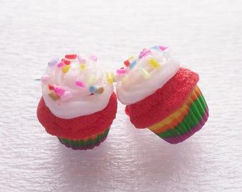 Rainbow Cupcake Earrings. Polymer Clay.