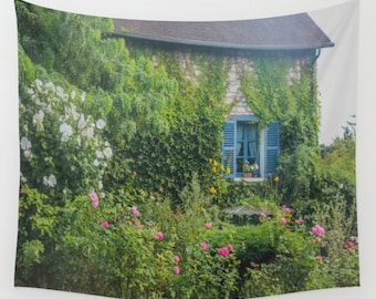 Monet French Garden Wall Tapestry, Country House Wall Art, Photo Tapestry, France, Giverny, Monet, Country, Charming, Flowers, Dorm