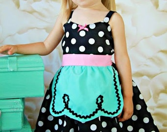 Retro Polka Dot apron dress with Hot Pink trim very ROCKABILLY I Love Lucy girls toddler infant fifties style dress 50s
