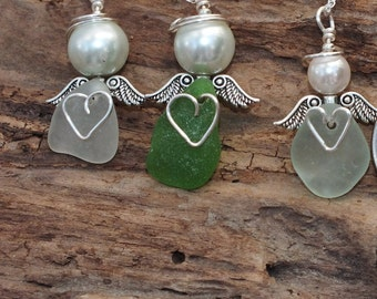 Sea Glass Angel, Beach Angel, Guardian Angel, Hospice Gift, Sympathy Gift, Mermaid Angel, Sea Glass Ornament, Gift For Teacher, Nurse Gift