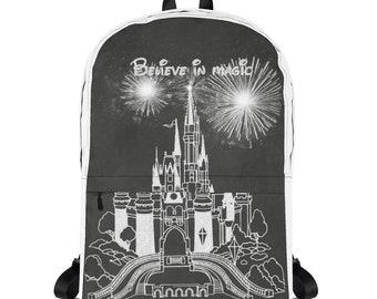 Believe in Magic Castle Chalk on Chalkboard Art Backpack