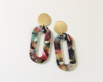 Multi-color + brass hoop earrings