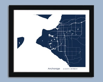 Anchorage map, Anchorage city art map, Anchorage wall art poster, Anchorage decorative map