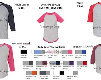 Customized or Plain Baseball Tee/Raglan Tee/Men/Women/Kid/Toddler/Family Tees/Family Trip