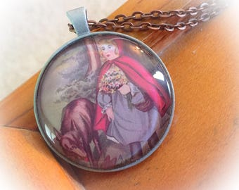 Little Red Riding Hood, Red Riding Hood, Wolf, Storybook jewelry, Fairytale jewelry, Riding Hood, Book jewelry, Storybook