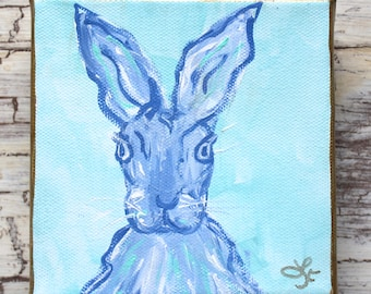 Periwinkle Spring Bunny Original Painting Mini Art Easter Gift Baby Gift Hostess Gift