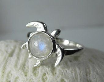 Moonstone Turtle Ring - Rainbow Moonstone Jewelry - Unique Gemstone Sterling Silver Turtle Nautical Sea Life - Blue Moonstone