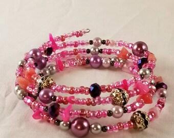 Pink seed bead memory wire bracelet