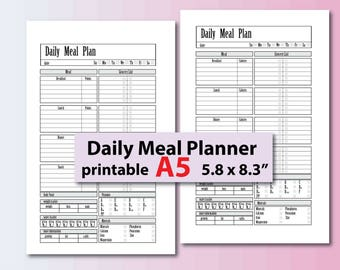 Meal Planner Printable, weight loss journal,  food journal, calories tracker, points tracker,  A5 Planner inserts - Instant Download