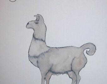 Como Se Dice Llama Original Watercolor Illustration Wall Art Animal Llama Spanish