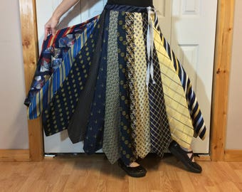 Retro Skirt, Vintage Necktie Skirt, Upcycled Tie Skirt, Recycled NeckTies, Long Skirt, Repurposed Clothes, Womens One Size M-L