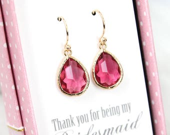 Ruby red earrings, Bridesmaid Gift, Wedding earrings, July birthstone earrings, Bridesmaid earrings, Maid of honor gift, Birthstone jewelry