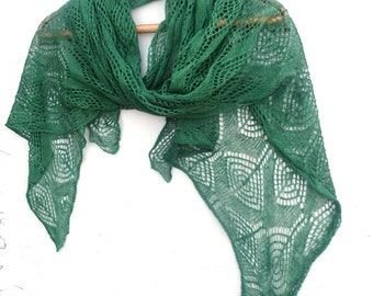 Scarf, knitted linen scarf, knit wrap, knitting flax shawl, lace green scarf, natural linen scarves, green shawl, wedding scarf, accessories