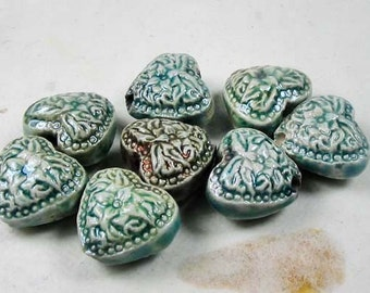 10 Tiny Raku Heart  Beads - CB612