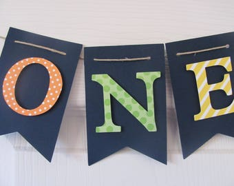 High Chair Banner, I Am One banner, Birthday decorations, small banner, Navy, Orange, Green Yellow ONE Banner, ONE BANNER