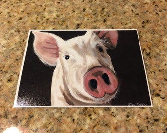 Pig ACEO print. Art card edition print from original canvas pig painting.