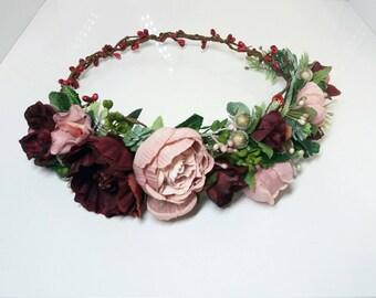 Burgundy Dusty Pink Flower crown,Peonies crown,Floral crown,Wedding flower crown,Flower girl crown,Bridal flower crown,