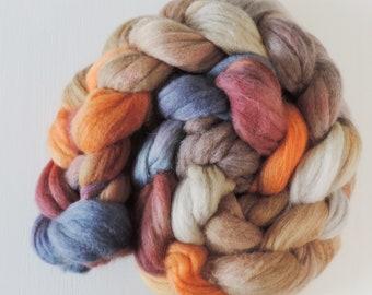 merino silk,Antique Wallpaper, top, handpainted fiber for spinning, .4,4oz
